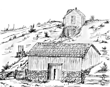 Scetch of Dalton Gang Hideout by N. Ohnick